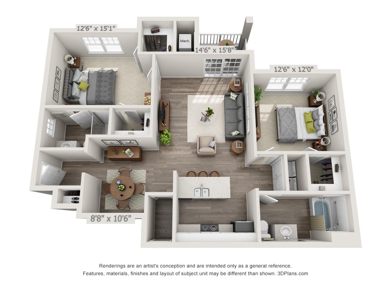 Hunter - 2 Bed / 2 Bath - 1st Floor - 1,143 SF
