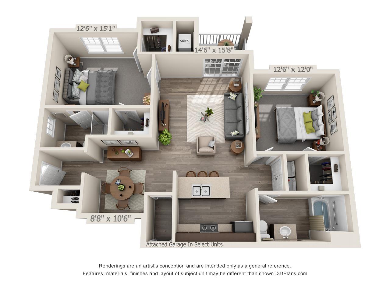 E1 - 2 Bed / 2 Bath and Den - 1st Floor - 1,143 SF