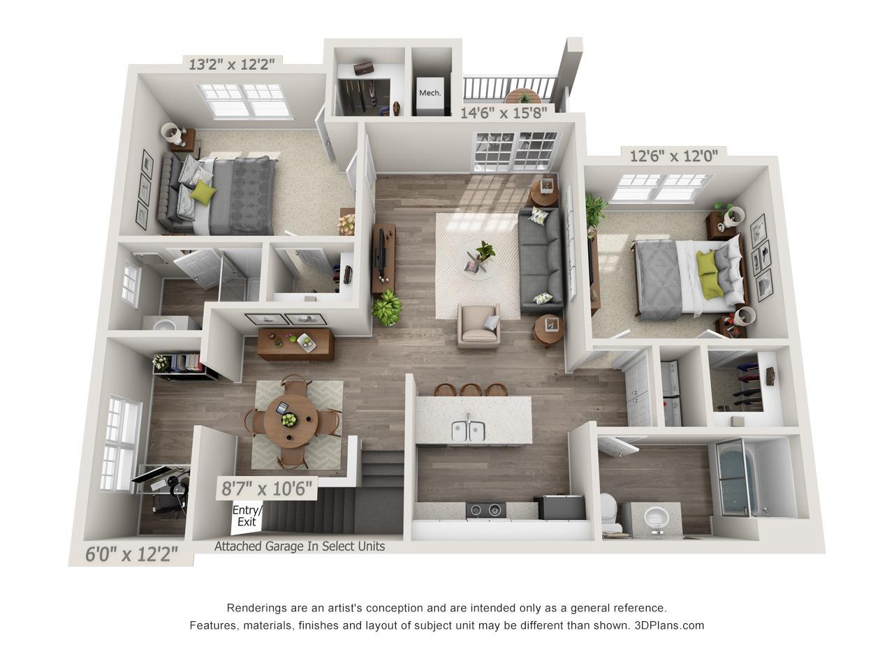 BD1 - 2 Bed / 2 Bath with Den - 2nd Floor - 1,280 SF