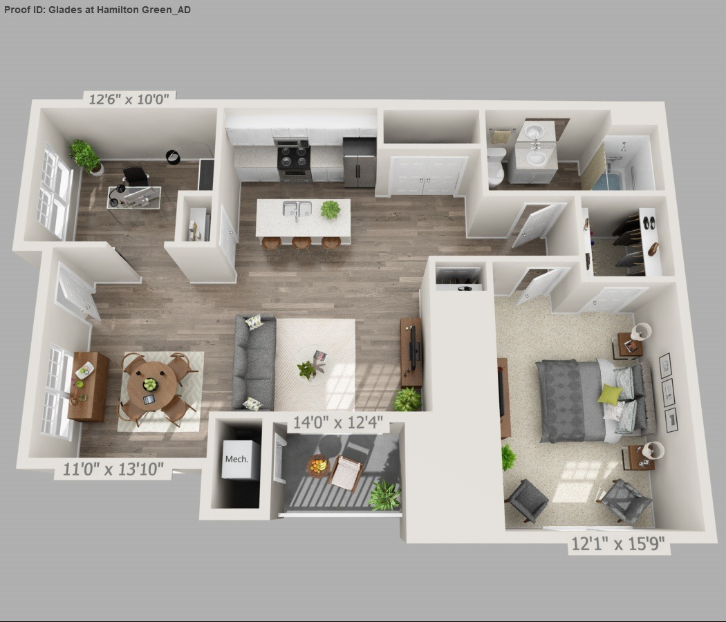 Fern - 1 Bed / 1 Bath with Den - 1st Floor - 1,002 SF