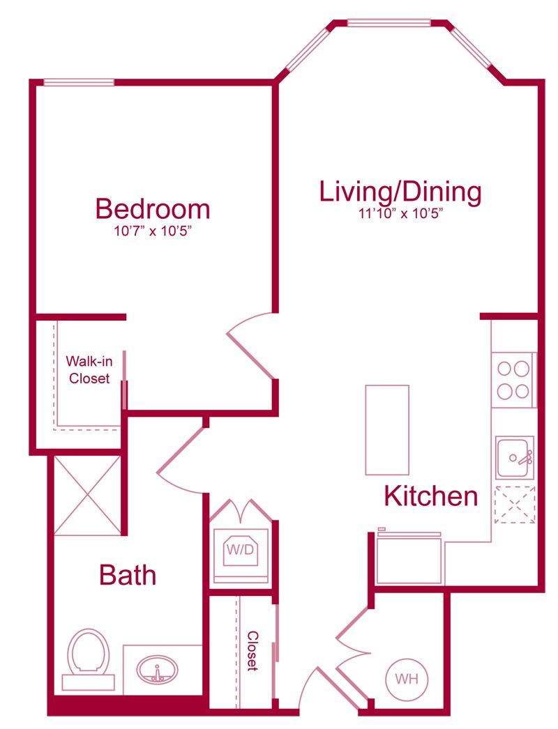 202 - 1 bed 1 bath - 710 SF