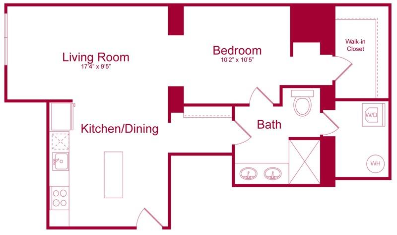 205 - 1 bed 1 bath - 760 SF