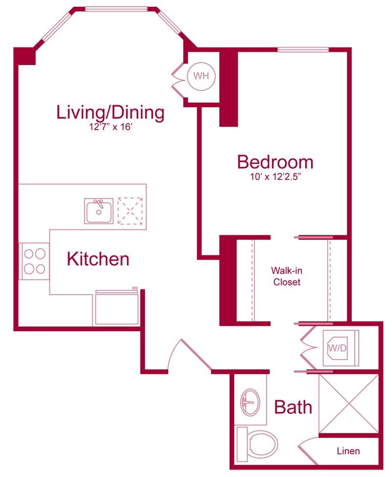 301 - 1 bed 1 bath - 625 SF