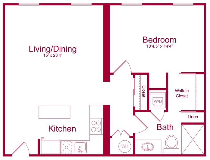 303 - 1 bed 1 bath - 700 SF