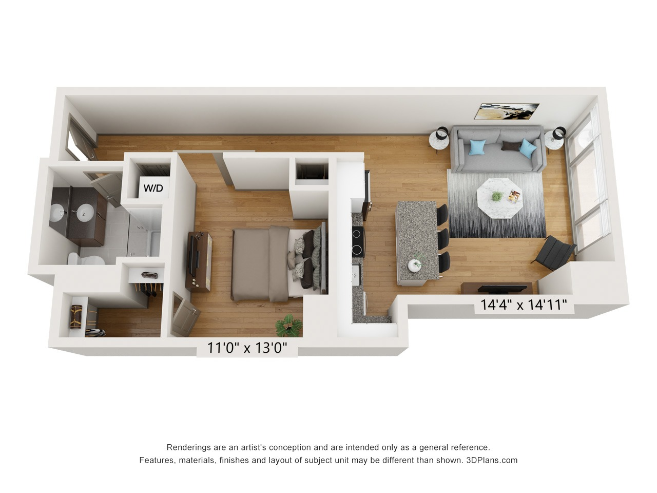 A1E - 1 Bed 1 Bath - 748 SF