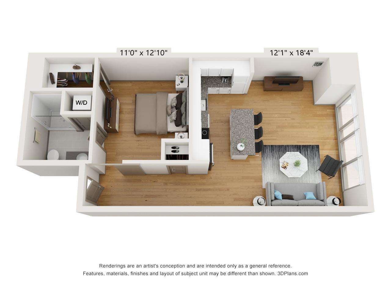 A1F - 1 Bed 1 Bath - 775 SF