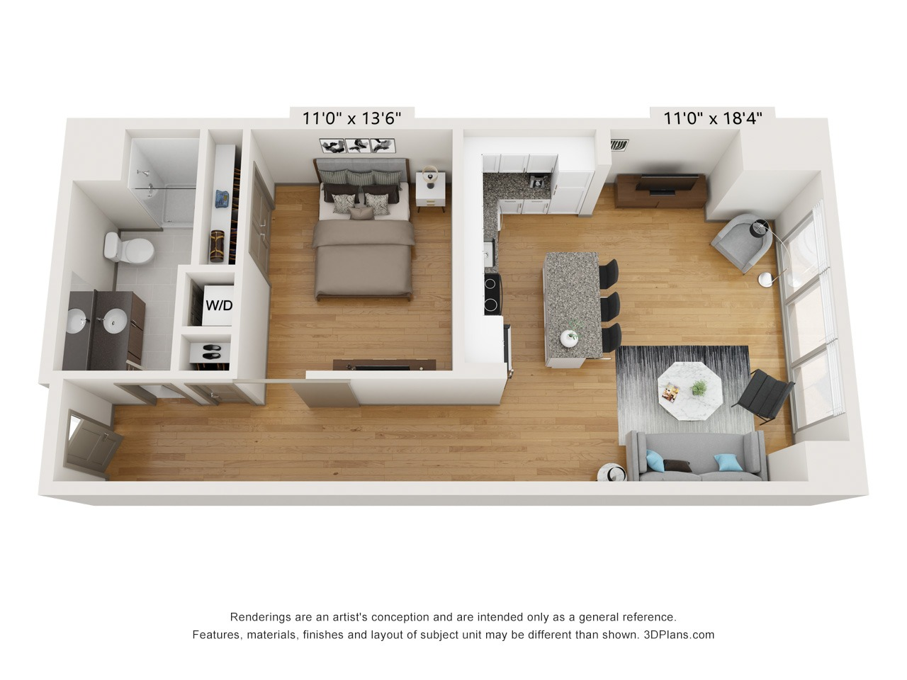 A1I - 1 Bed 1 Bath - 806 SF
