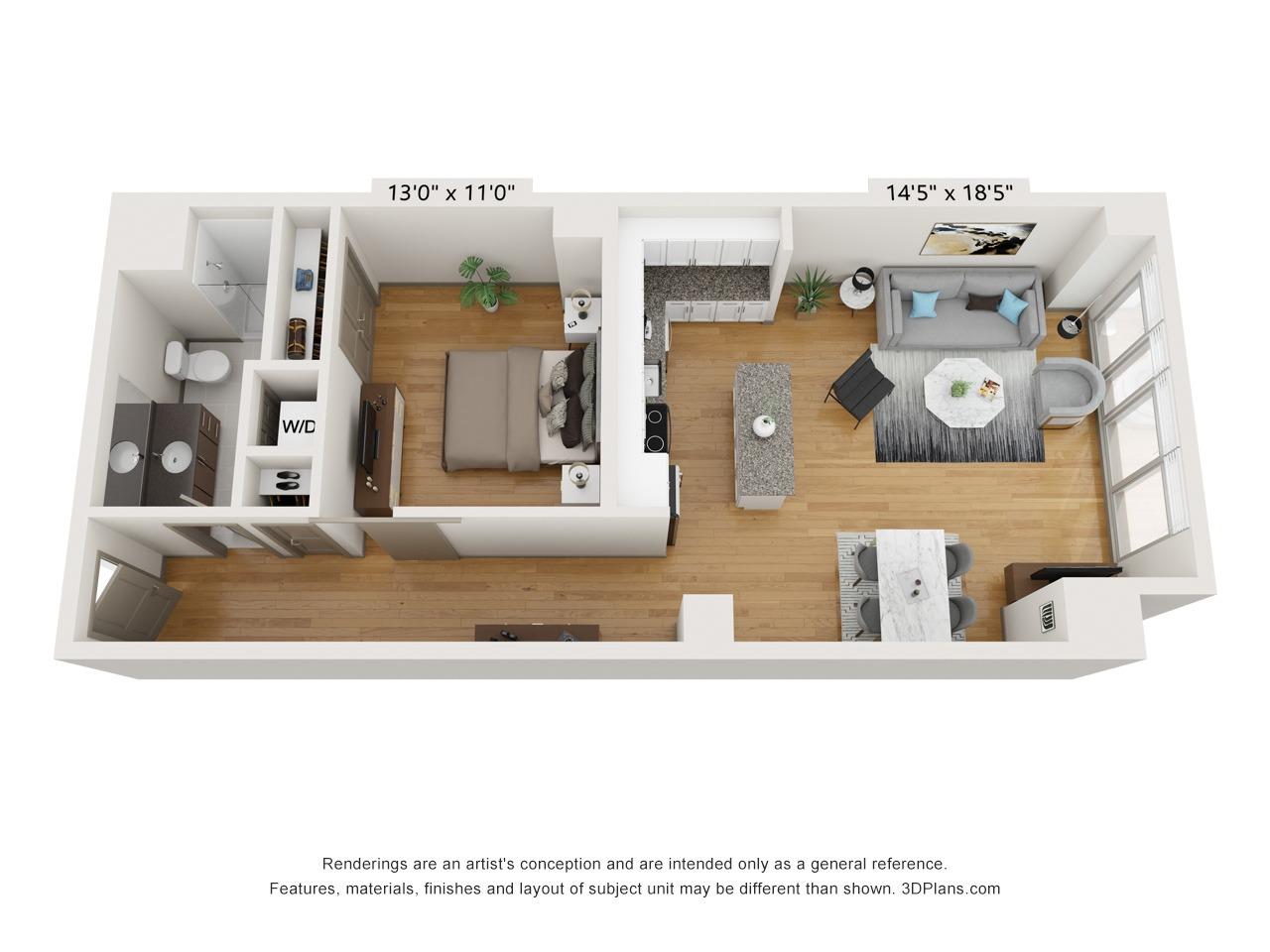 A1M - 1 Bed 1 Bath - 920 SF