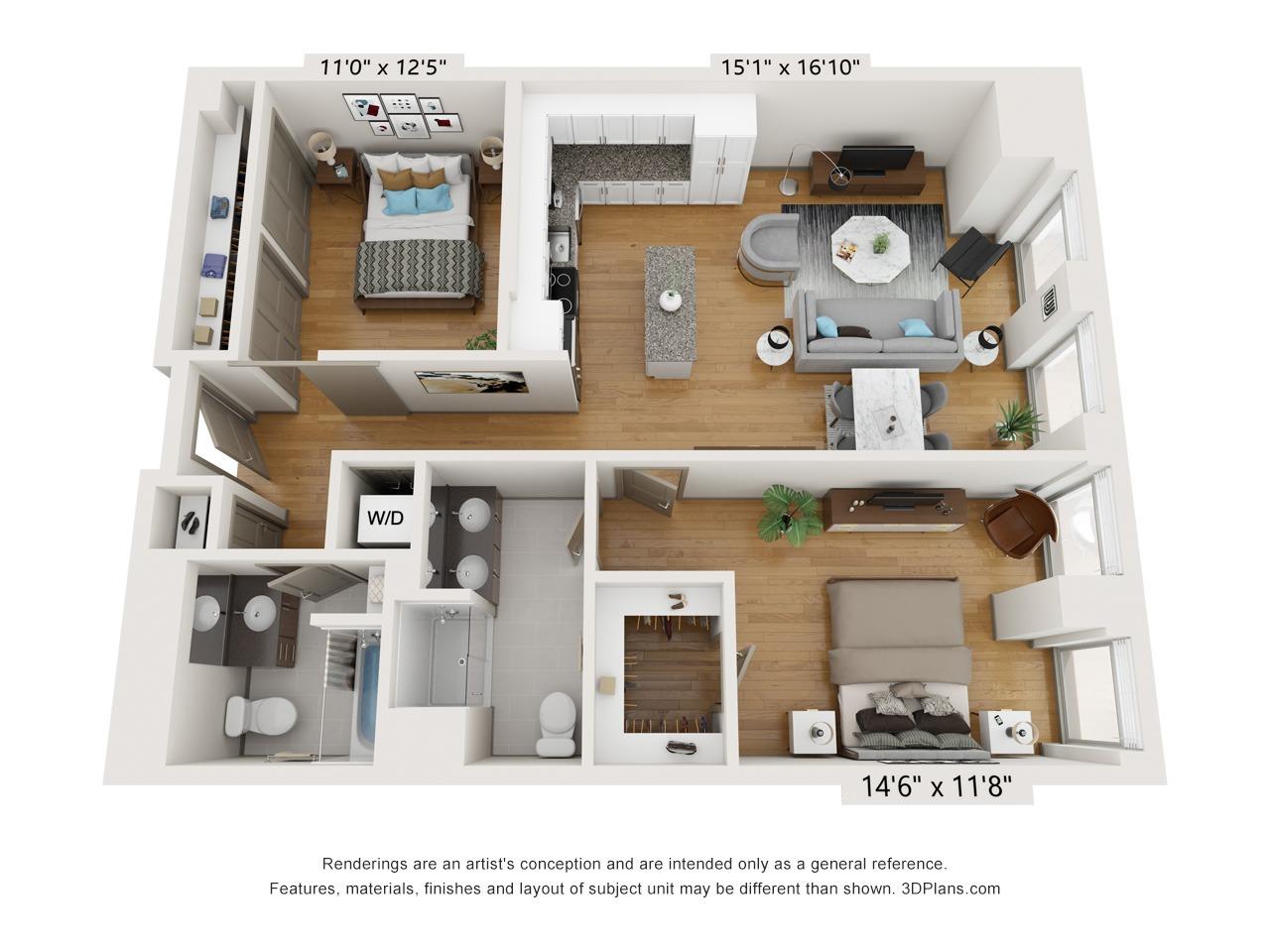 B2C - 2 Bed 2 Bath - 1,117 SF