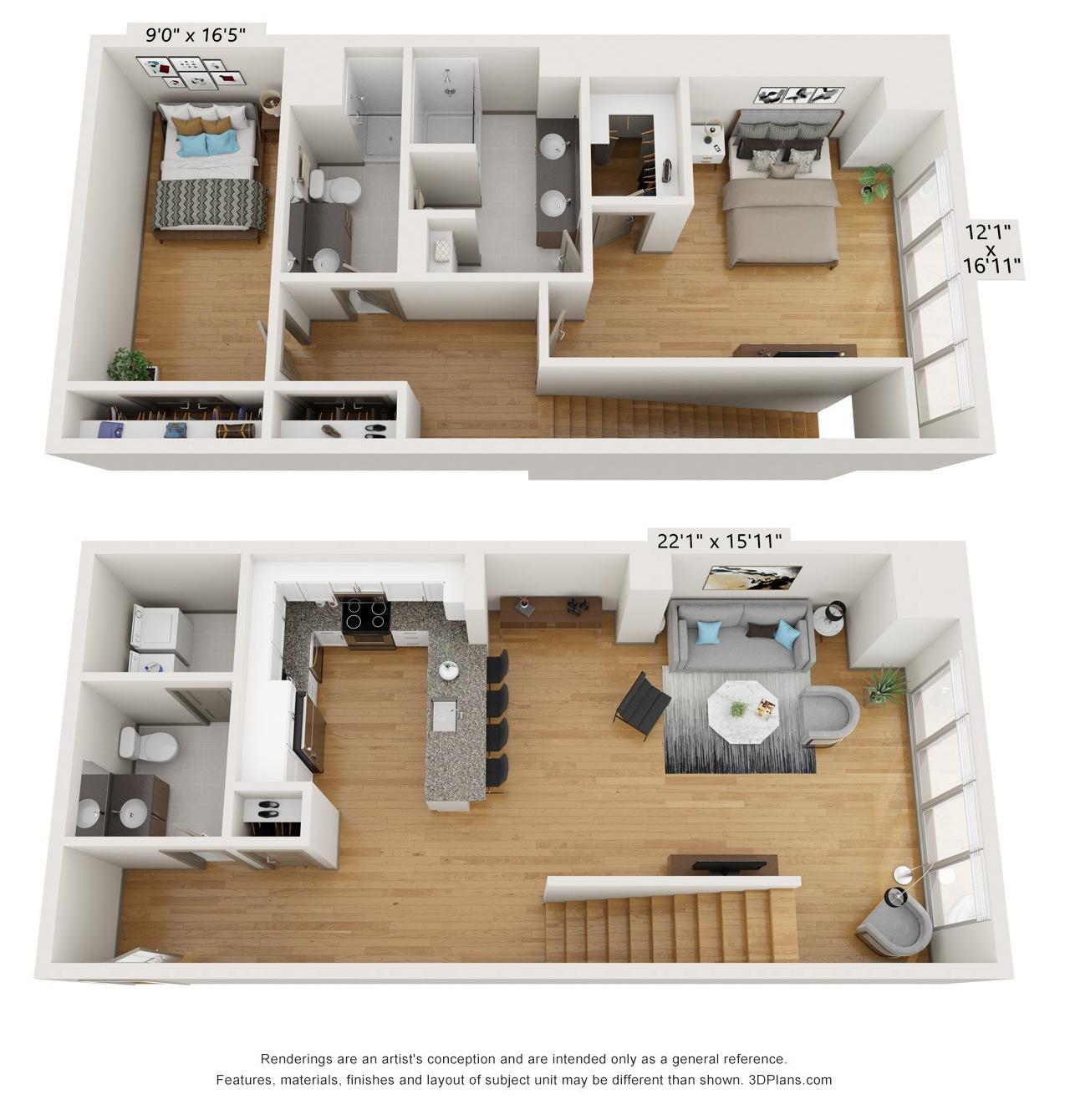 B2L - 2 Bed 2 Bath Duplex - 1,822 SF