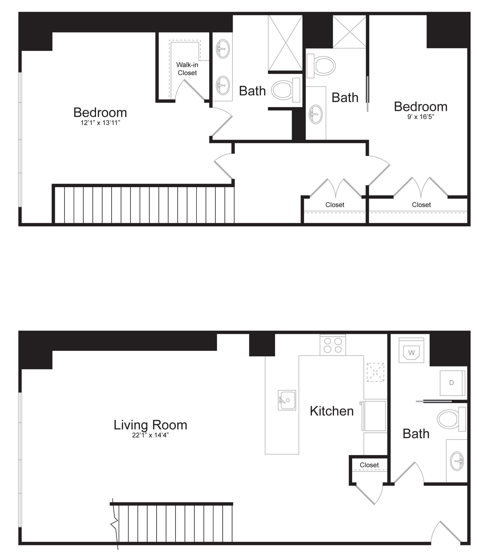 Duplex A1 - 2 Bed 2 Bath - 1,692 SF