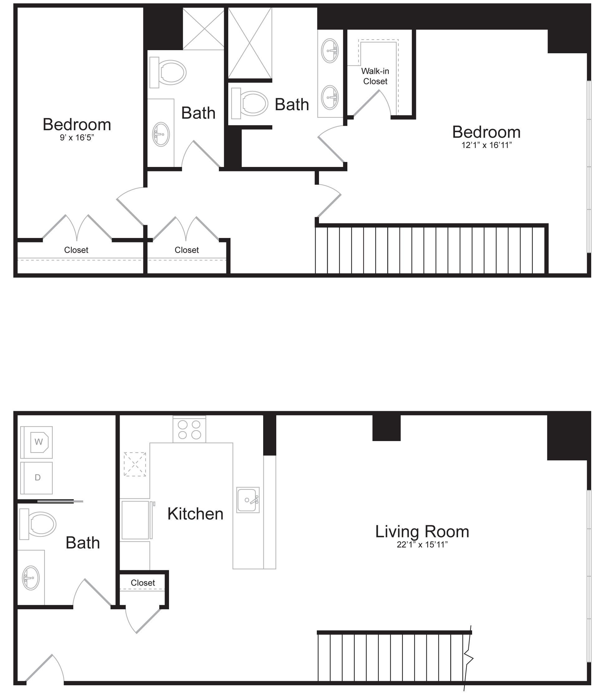 Duplex A2 - 2 Bed 2 Bath - 1,822 SF