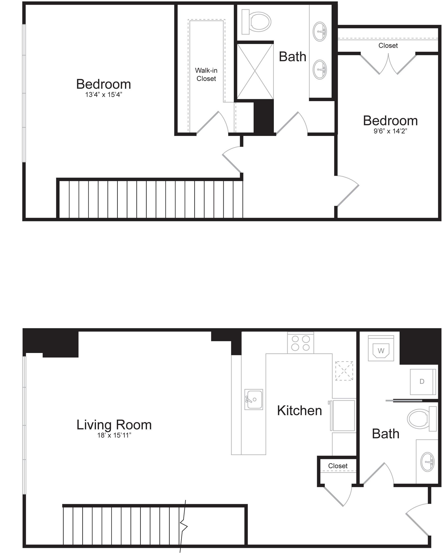 Duplex B1 - 2 Bed 2 Bath - 1,527 SF