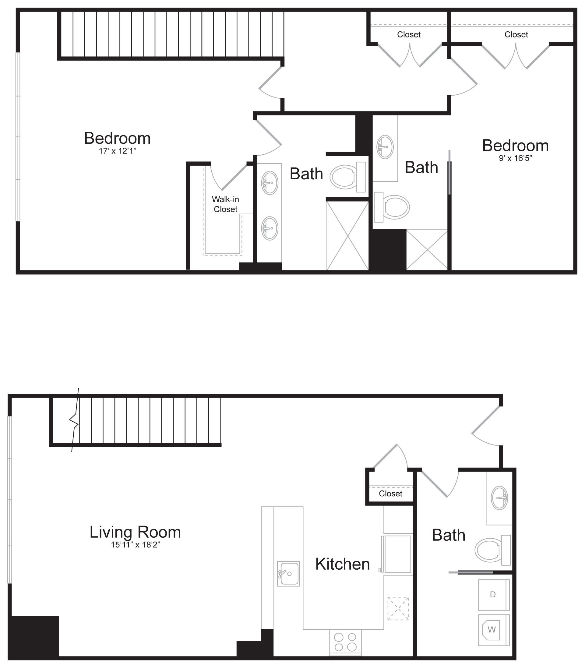 Duplex C1 - 2 Bed 2 Bath - 1,597 SF