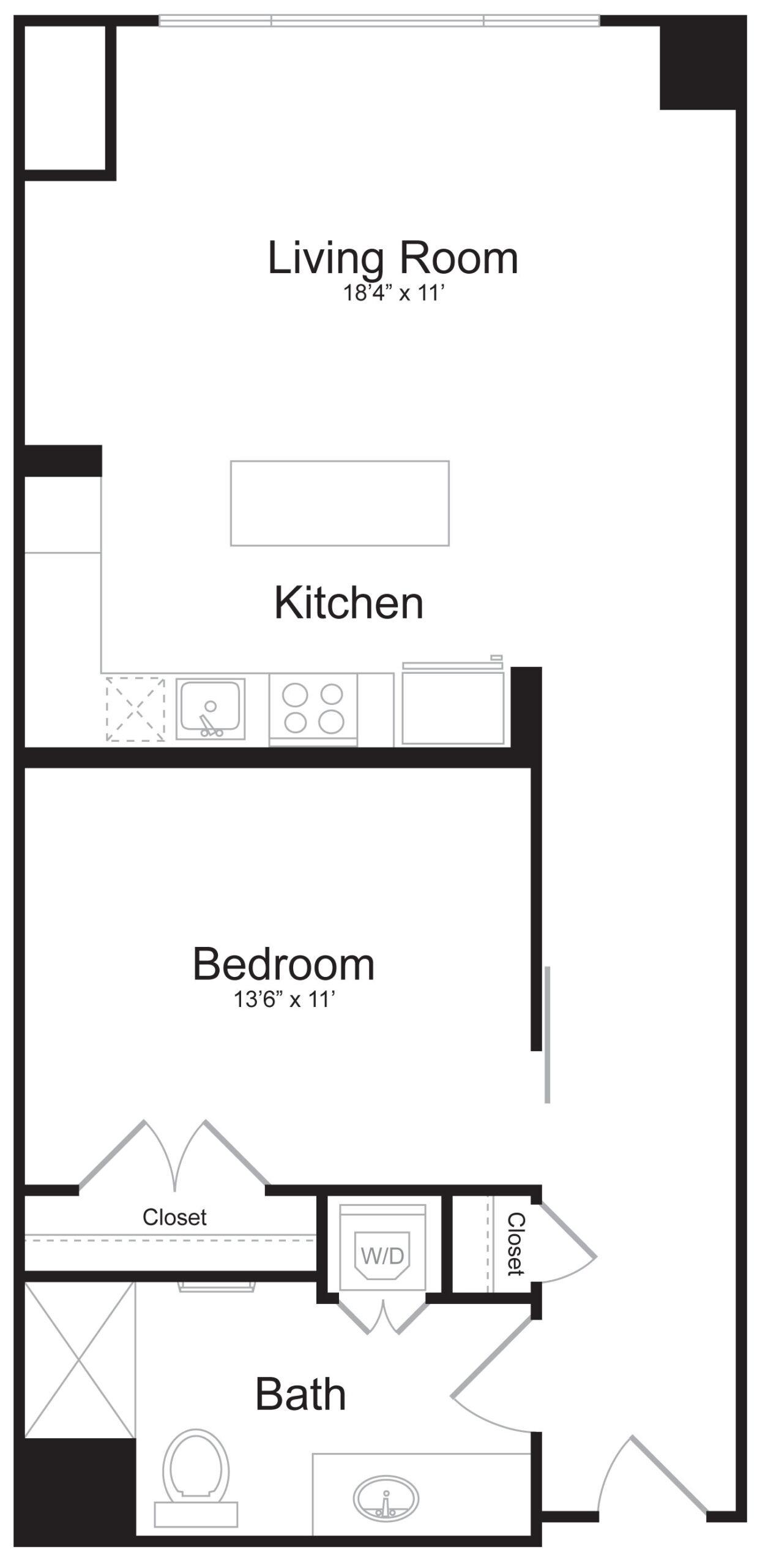 C1 - 1 Bed 1 Bath - 806 SF