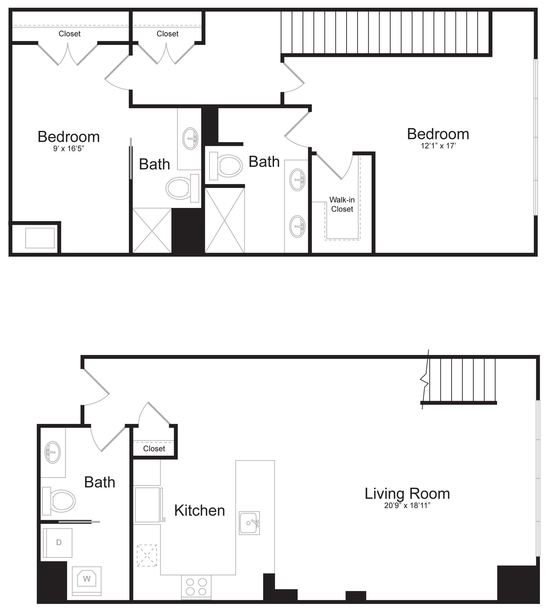 Duplex C2 - 2 Bed 2 Bath - 1,774 SF