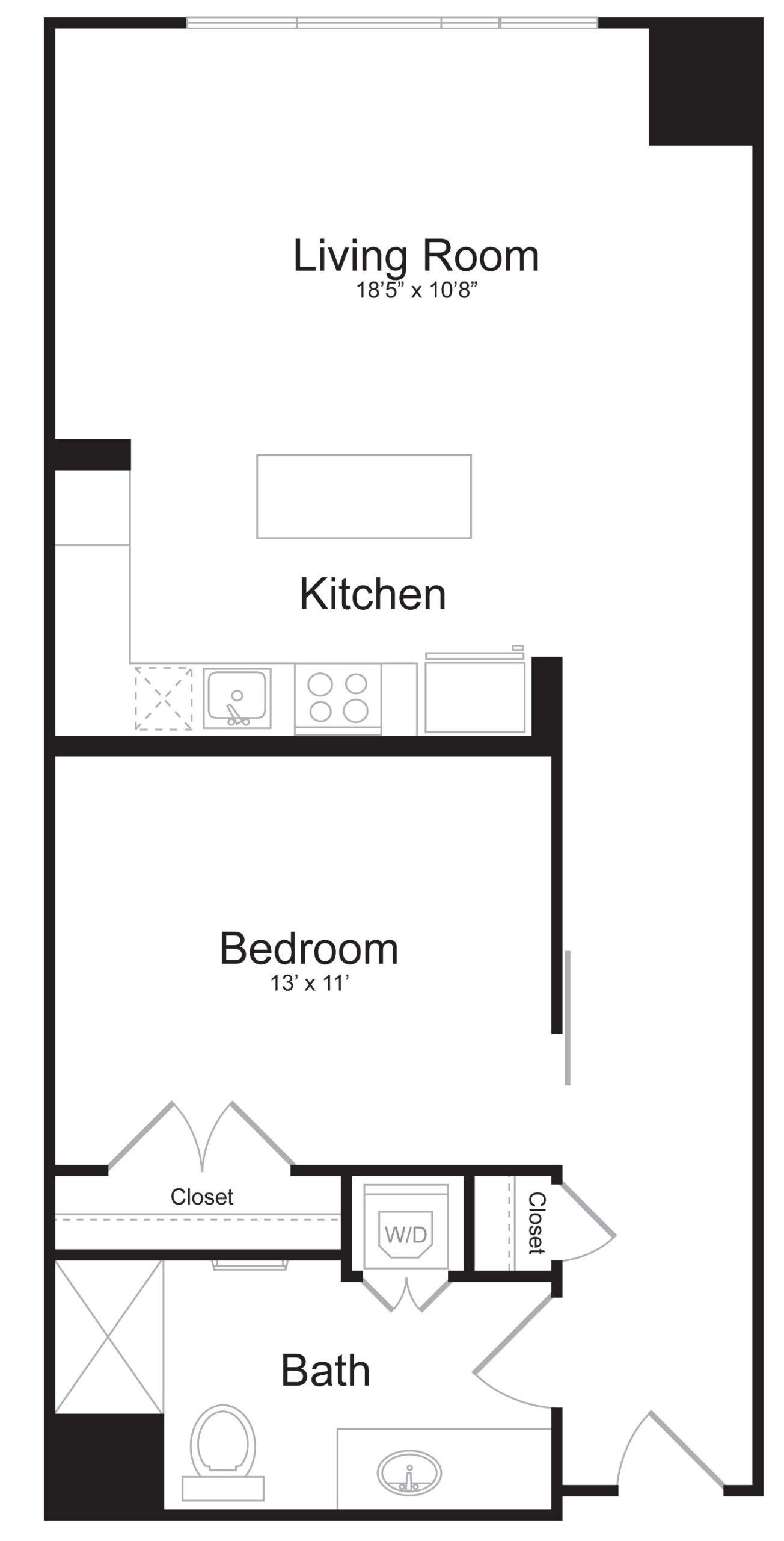 C2 - 1 Bed 1 Bath - 815 SF