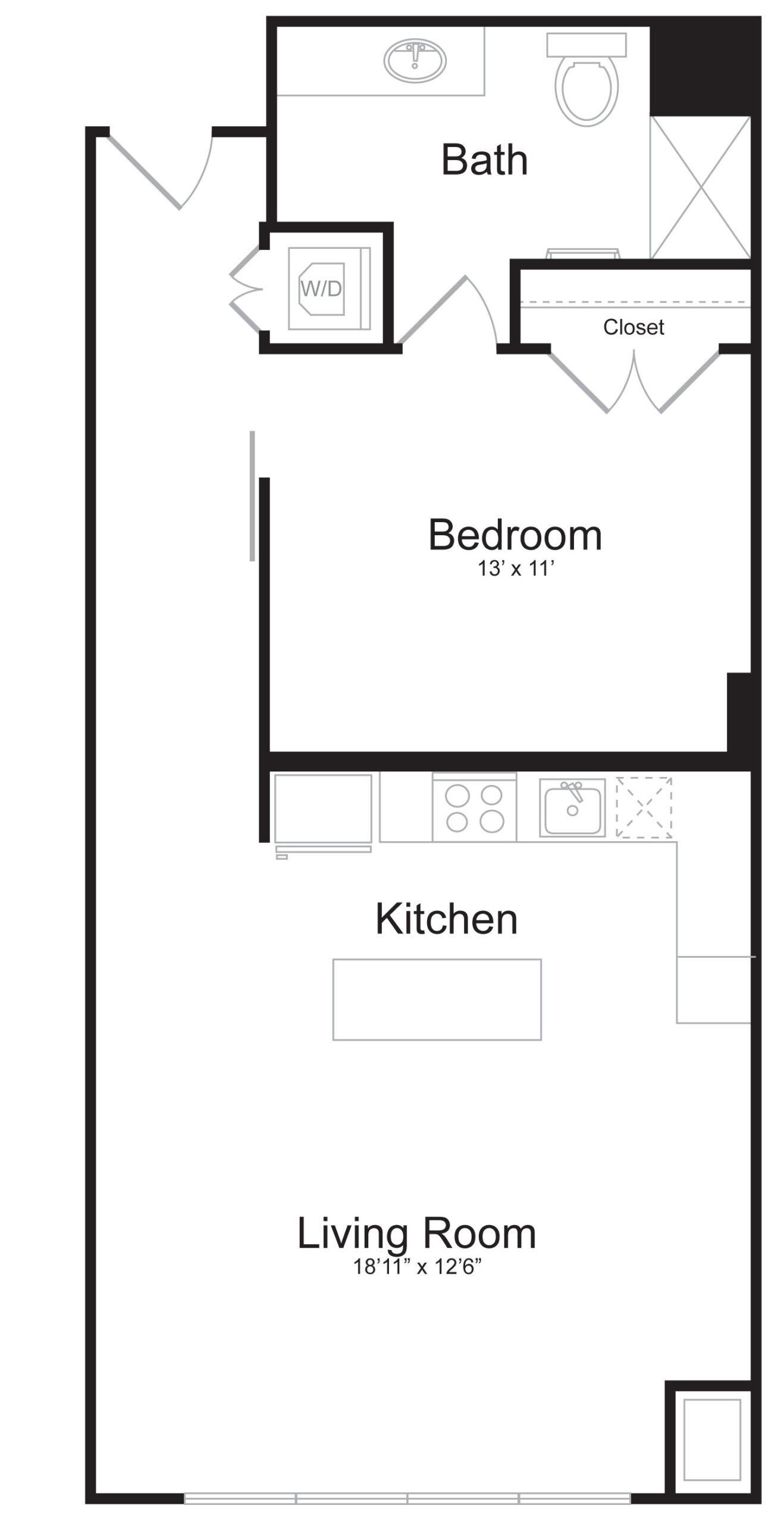 C4 - 1 Bed 1 Bath - 805 SF
