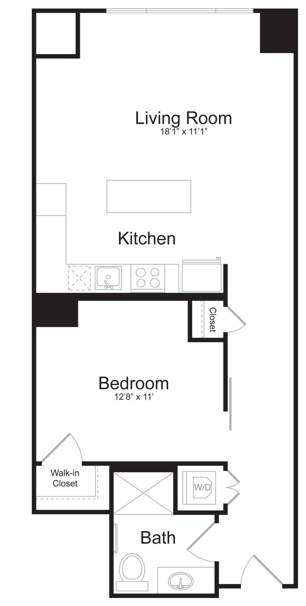 C5 - 1 Bed 1 Bath - 706 SF