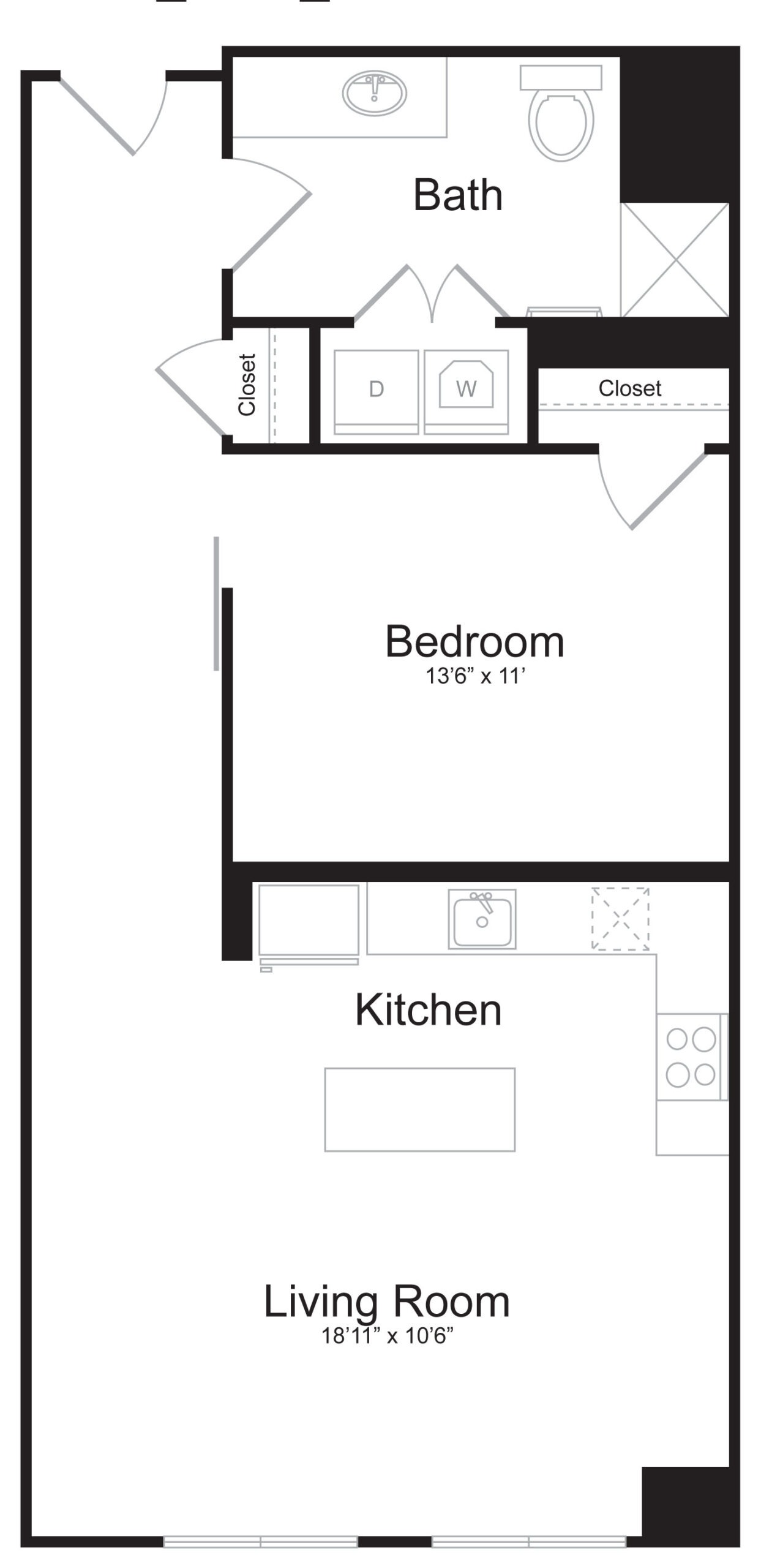 C6 - 1 Bed 1 Bath - 805 SF