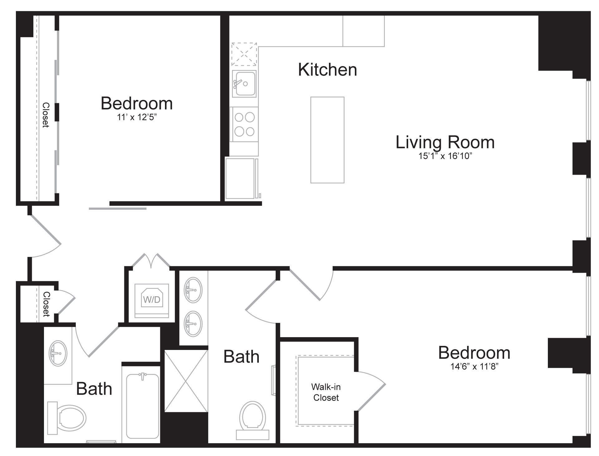 D1 - 2 Bed 2 Bath - 1,117 SF