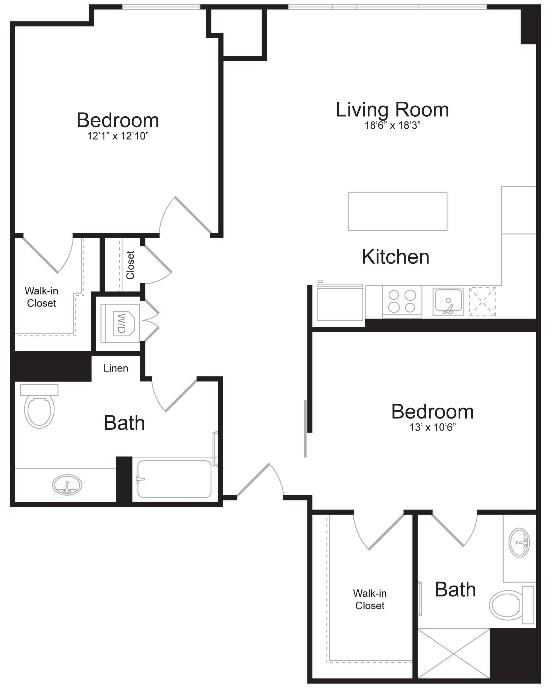 D2 - 2 Bed 2 Bath - 1,141