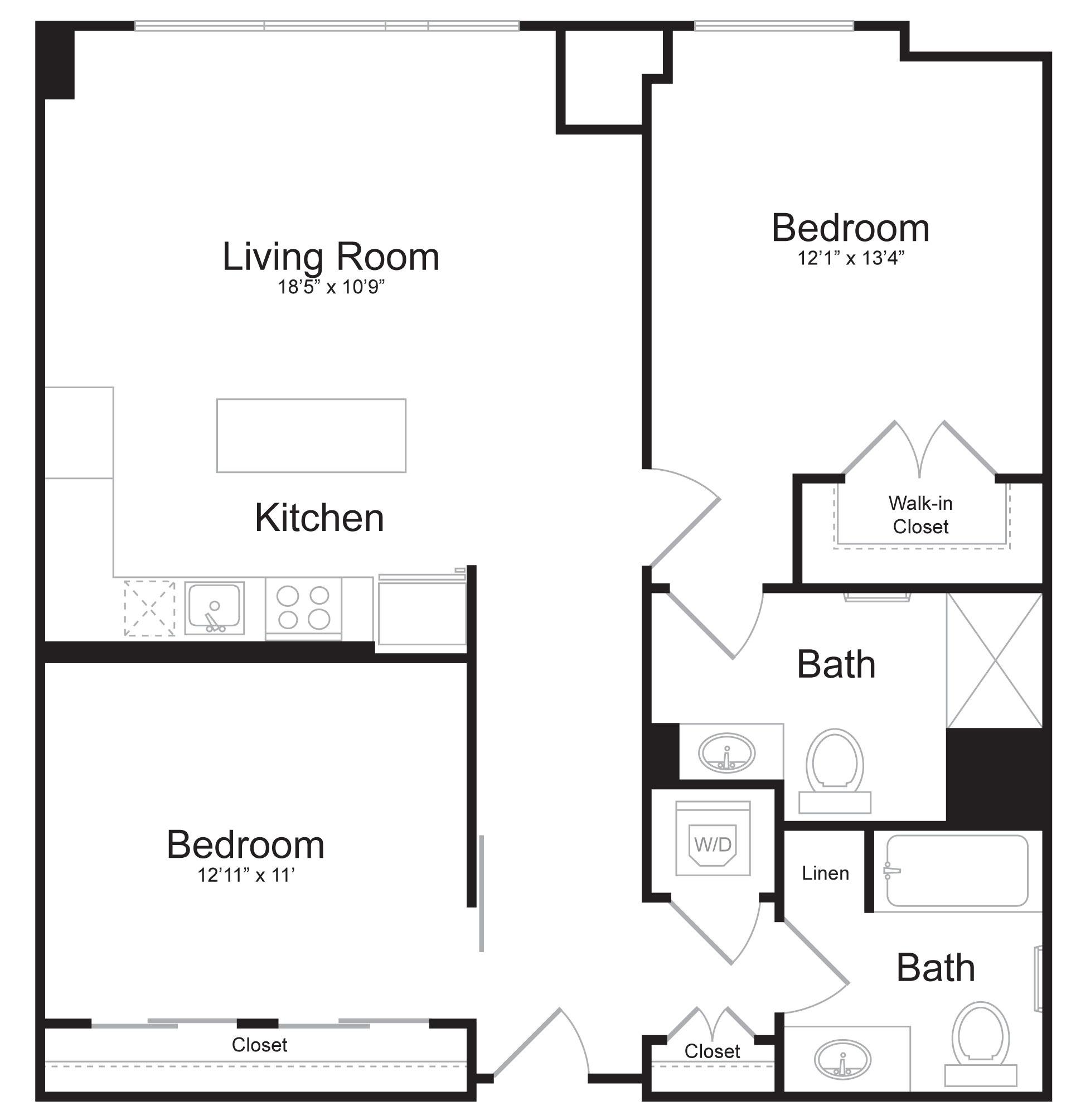 D3 - 2 Bed 2 Bath - 1,109 SF