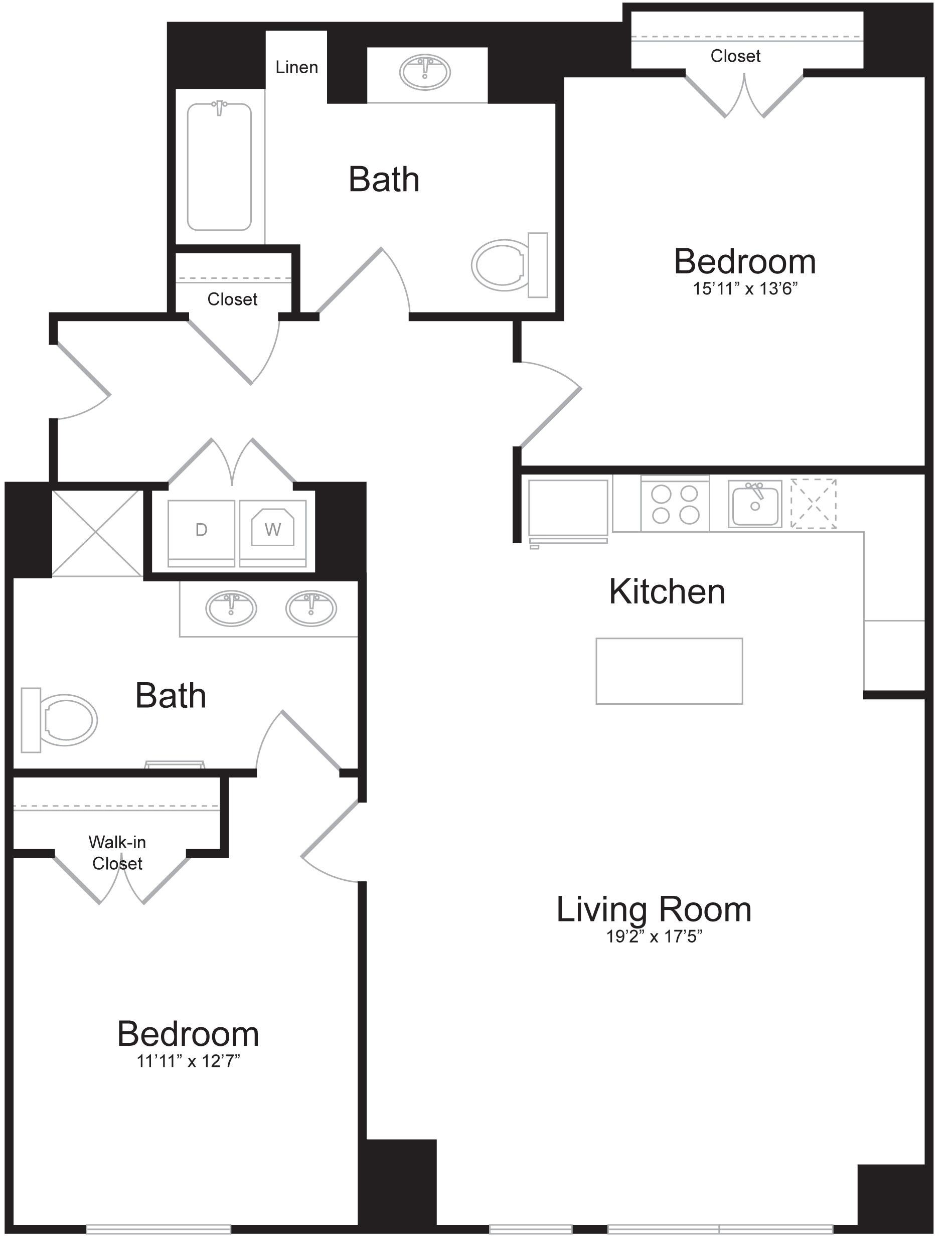 D5 - 2 Bed 2 Bath - 1,429 SF