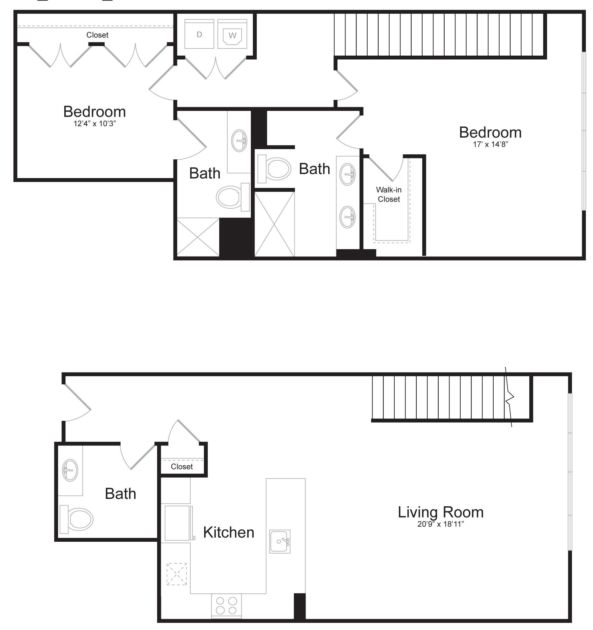 Duplex E1 - 2 Bed 2 Bath - 1,739 SF