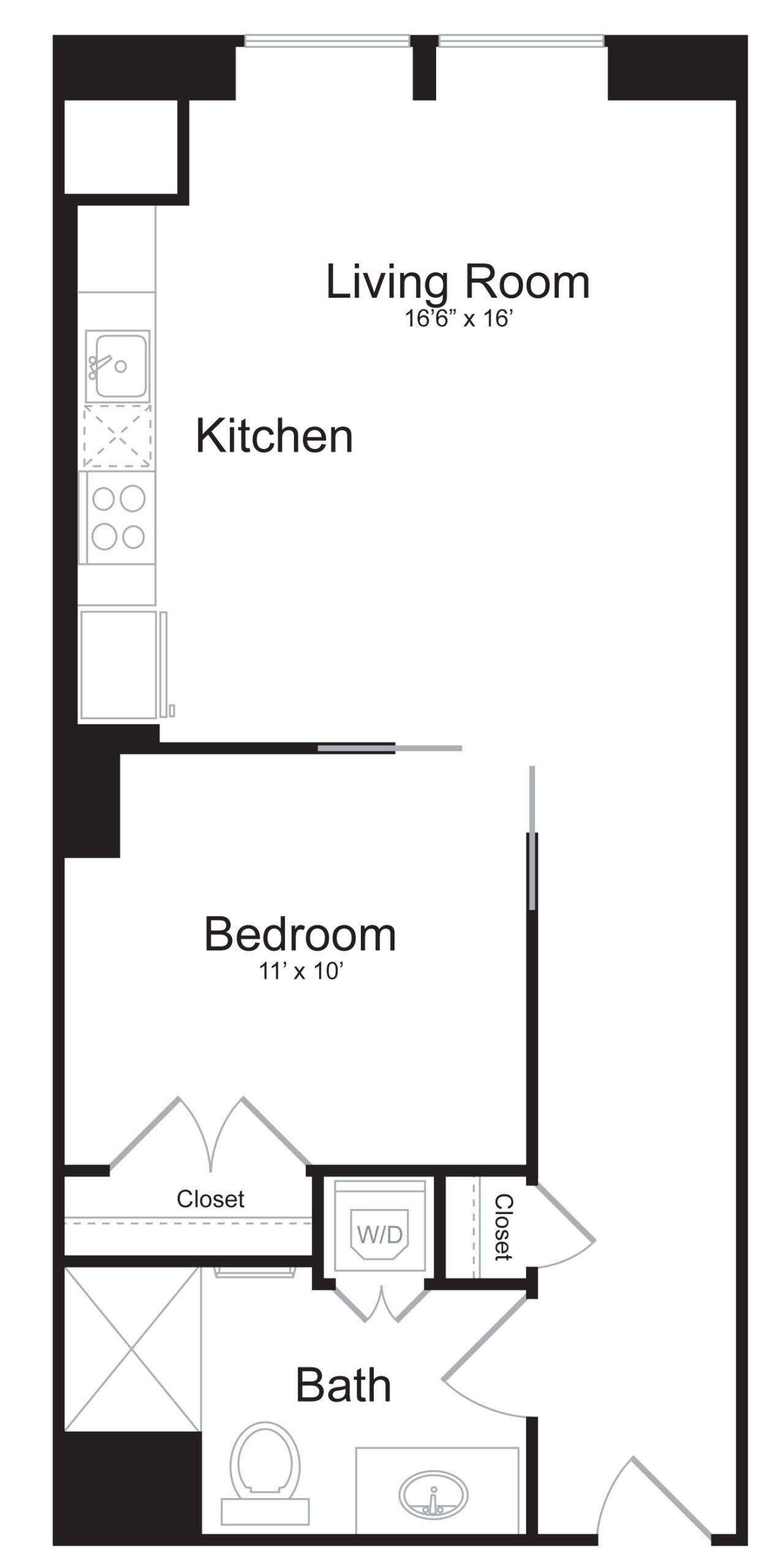 E1 - 1 Bed 1 Bath - 626 SF