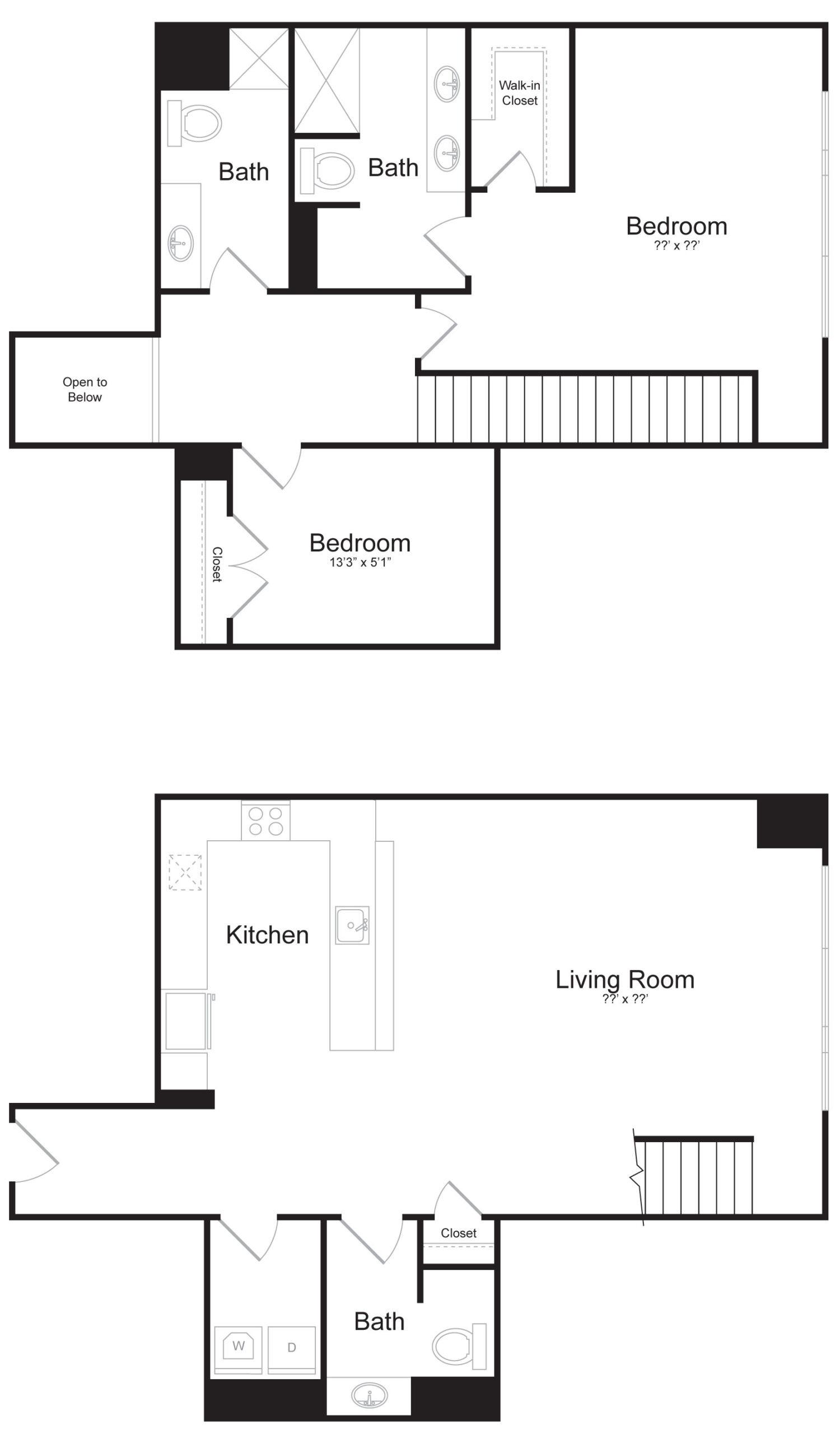 Duplex E2 - 2 Bed 2 Bath - 1,938