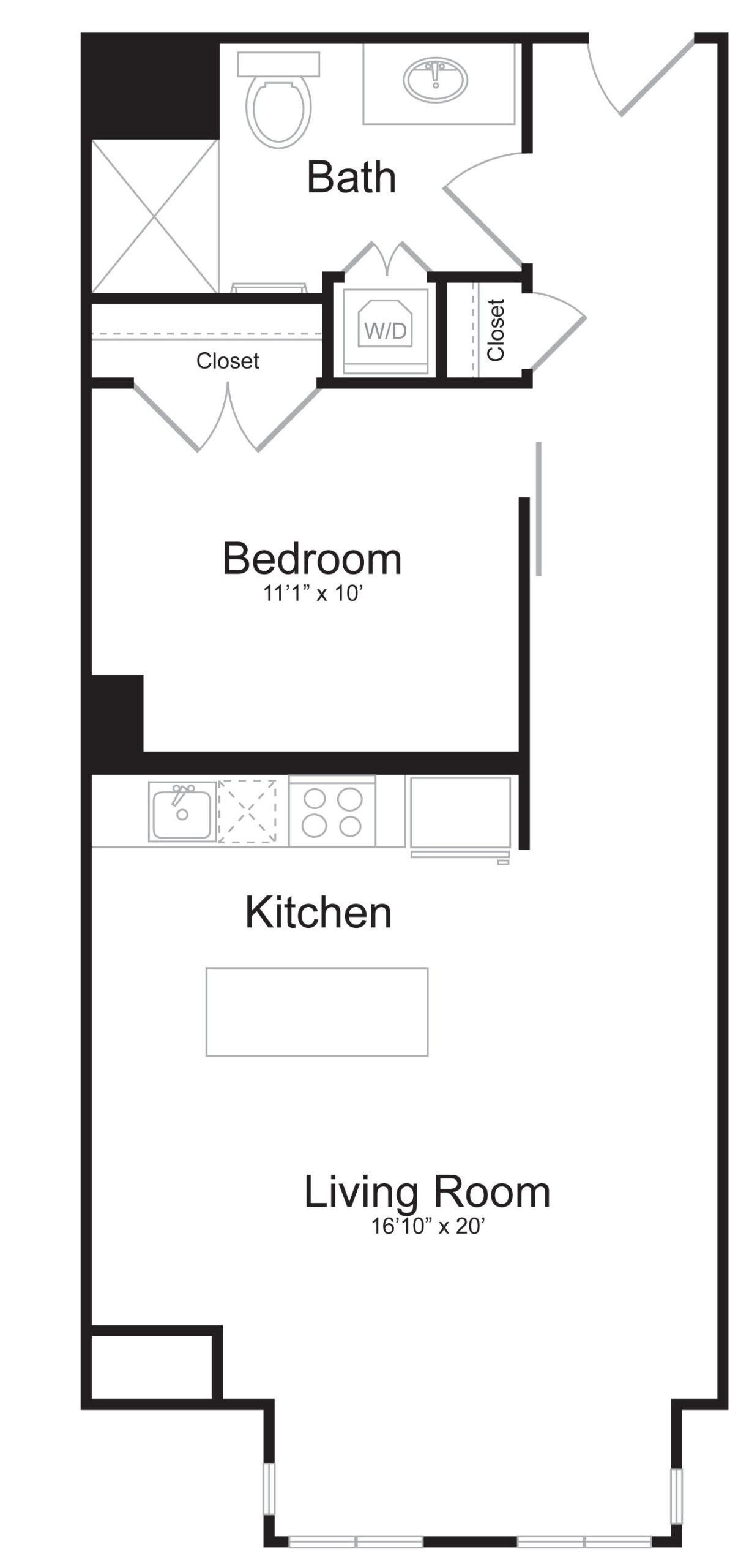 E2 - 1 Bed 1 Bath - 651 SF