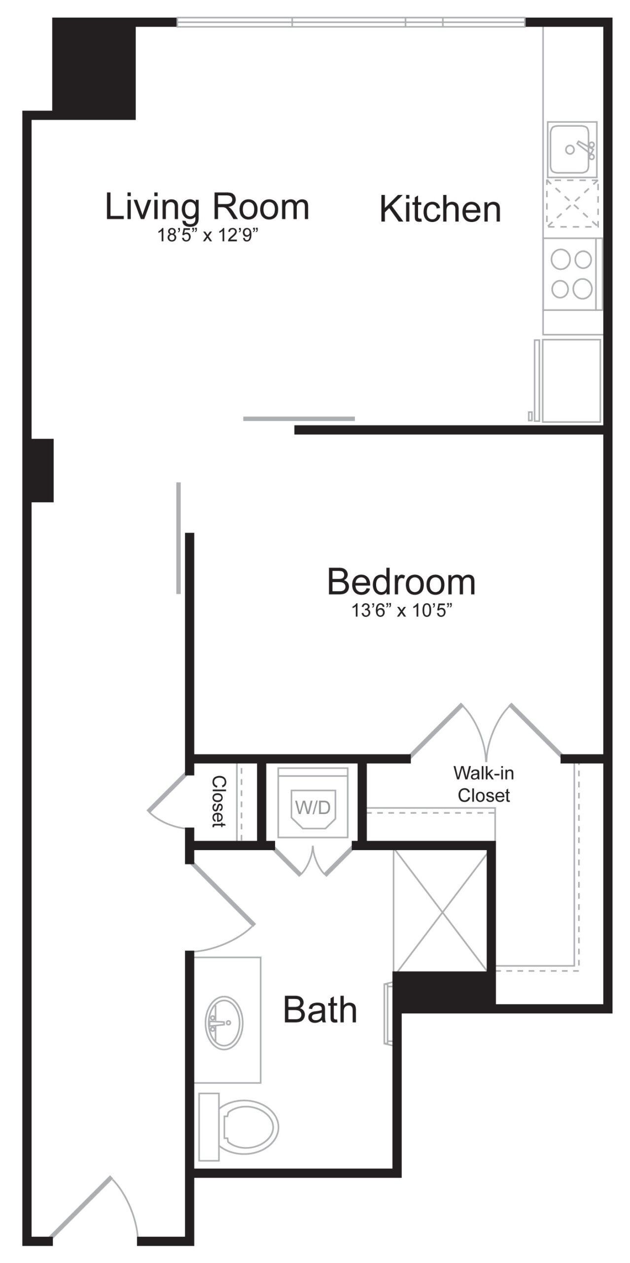 E3 - 1 Bed 1 Bath - 845 SF