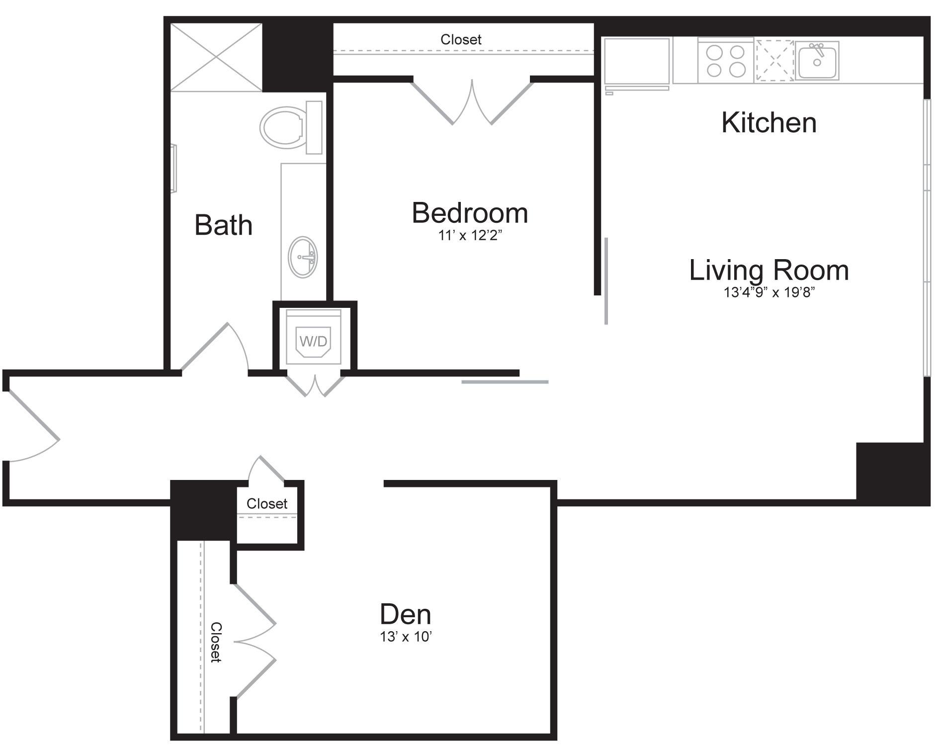 E4 - 2 Bed 2 Bath - 995 SF