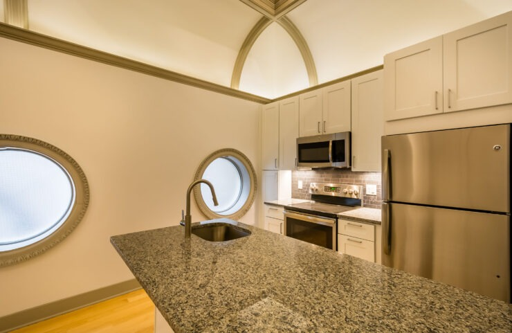 Modern Kitchen With Porthole Windows