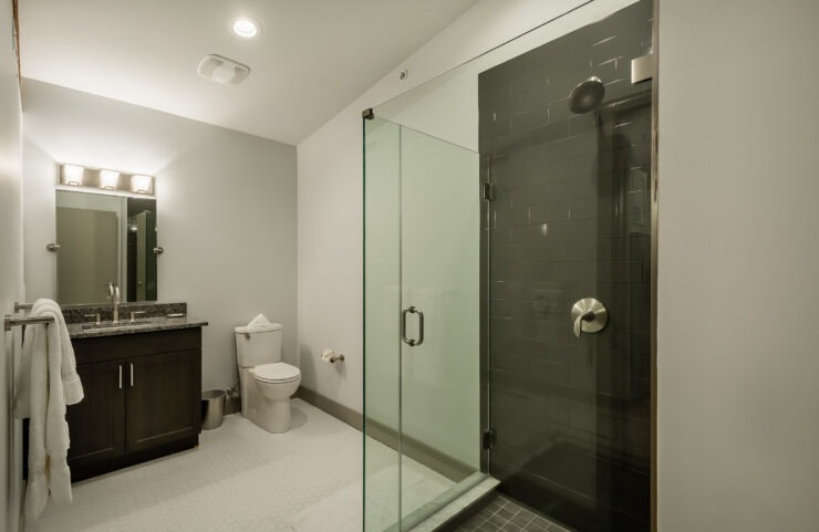 Bathroom With Gorgeous Glass and Porcelain Tiled Showers