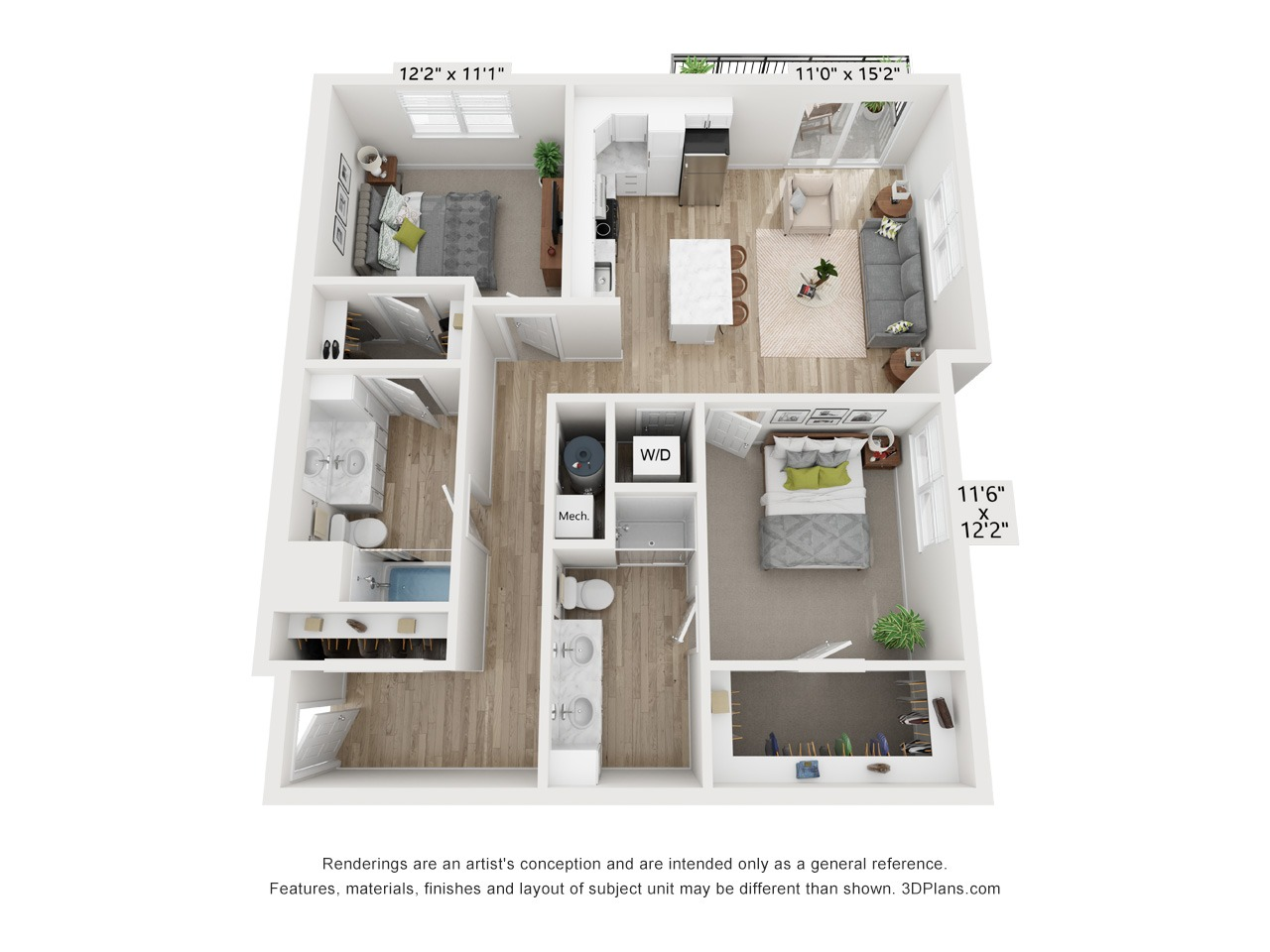 2 Bedroom 2 Bathroom - 1,080 to 1,188 SF