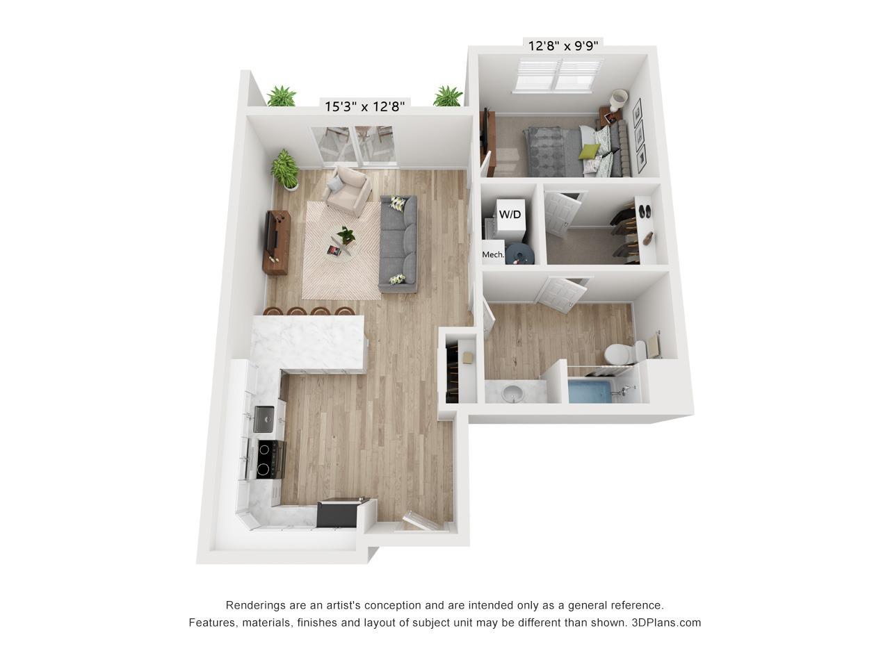 1 Bedroom 1 Bathroom Apartment