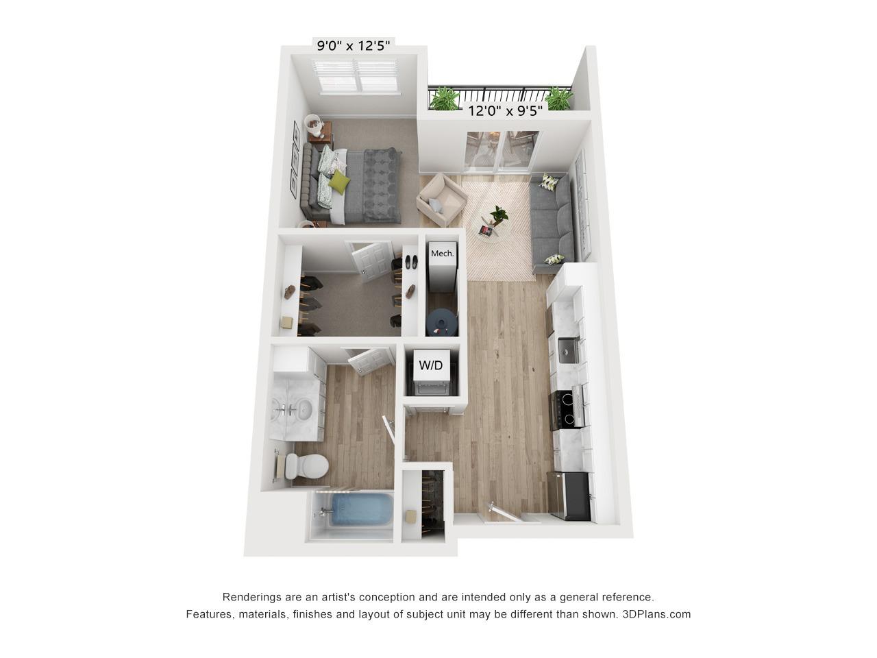 Studio Apartment - 631 SF